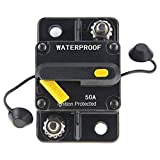 ANJOSHI 50Amp Circuit Breaker 30A-250A Inline Reset Inverter with Manual Reset Waterproof Breaker Switch Fuse Holder for Marine Boat Battery Bike Stereo Audio System Protection