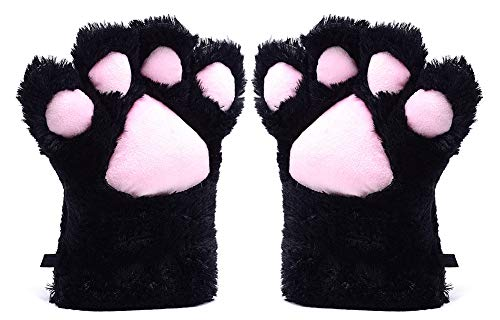 Odema Womens Winter Warm Gloves Cosplay Cat Paw All Cover Mittens for Girls Black