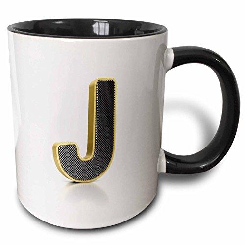 3dRose Monogramm Buchstabe J in Golden Metall mit perforiertem Front in Gray-Two Ton Tasse, Keramik, Schwarz, 10,2x 7,62x 9,52cm