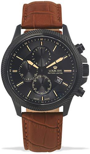 LOUIS XVI Herren-Armbanduhr Résidence Schwarz Chronograph Analog Quarz echtes Leder Braun 995