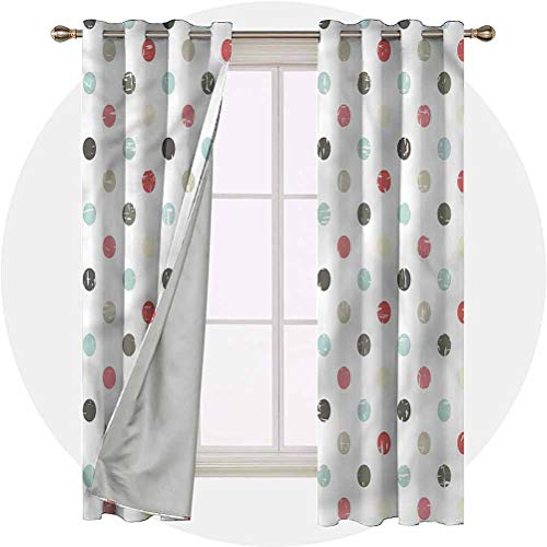 Aishare Store Set of 2 Panels 45 Long Inches Curtains for Bedroom, Polka Dots,Weathered Old School, Window Curtain for Bedroom and Living Room
