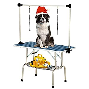 SUNCOO 48 Inch Portable Pet Dog Grooming Table for Large Dogs Professional Foldable Drying Trimming Table, Heavy Duty Stainless Steel Frame, Adjustable Arm/Noose/Mesh Tray, 330lbs Capacity