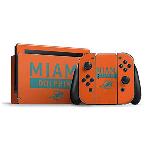 Skinit Decal Gaming Skin Compatible with Nintendo Switch Bundle - Officially Licensed NFL Miami Dolphins Orange Performance Series Design