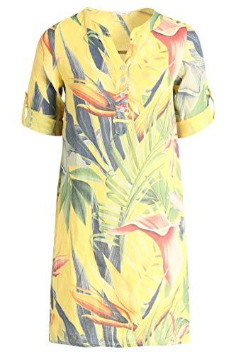 PAPRIKA Damen große Größen Tunika-Kleid aus Leinen mit Tropic-Print V-Ausschnitt 3/4 Ärmel