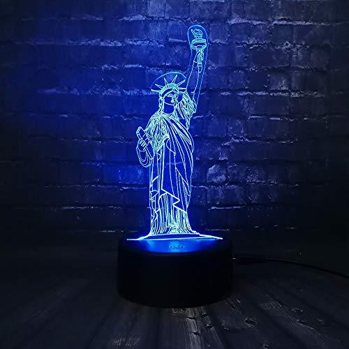 3D Illusion Lampe Freiheitsstatue LED Nachtlicht,7-farbige Nachttischlampe mit USB-Fernbedienung für Schlafzimmerdekoration und Kindergeburtstagsgeschenk
