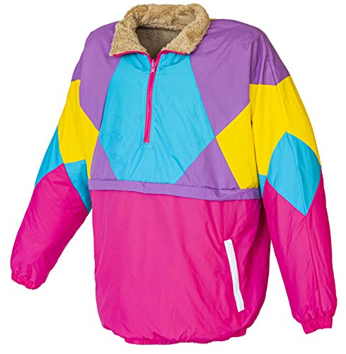 Funny Guy Mugs 80s & 90s Retro Neon Windbreaker - Reversible Pullover Sherpa Jacket, X-Large