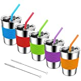 Stainless Steel Kids Cups with Lids and Straws,12oz Spill Proof Kids Tumbler with Straw,18/8 Steel Unbreakable Kids Drinking Glasses with Lid,Leak Proof Toddler Sippy Cups with Lid for Kids and Adults