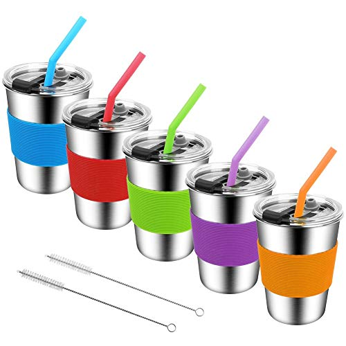 Stainless Steel Kids Cups with Lids and Straws,12oz Spill Proof Kids Tumbler with Straw,18/8 Steel...