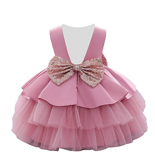 AVAZU 6M-5T Toddler Baby Girls Backless Big Sequins Bowknot Tutu Gown Formal Wedding Party Easter Ball Gown Christmas Dress Pink 110