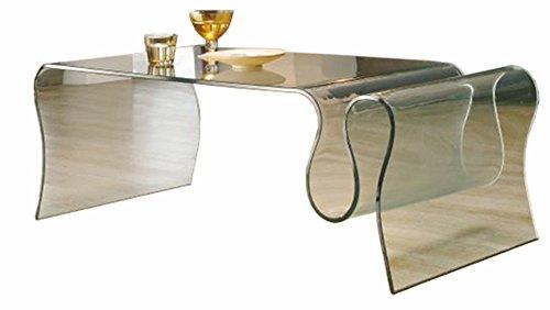 PEGANE Table Basse Porte revues en Verre, L.123 X P.60 X Ht.43 cm