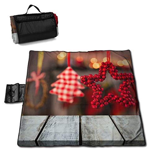 Suo Long Belle décoration Couverture de Pique-Nique de Pentagramme de Noël avec Tapis de Pique-Nique en Plein air pour Le Camping Beach Park Lawn