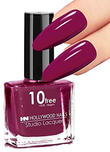 HOLLYWOOD NAILS 10 free Lacquer Nagellack Nr. 58 Raspberry Favor 10 ml - Hält mit GeLack Top Coat...