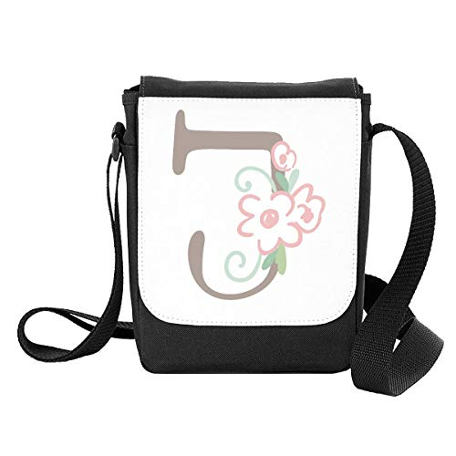 Sweet Baby Floral Style Alphabet Letter J Crossbody Shoulder Bag - Small