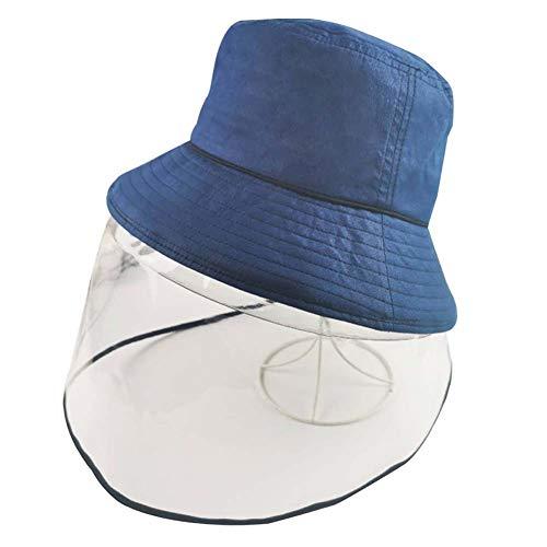 YWXKA Full-Face-Schutzhelm, abnehmbare Dual-Use-Baseballmütze, Angeln Sun Protect Cap, Staubdichtes Außenreit Cap,Blau