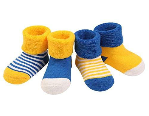 DEBAIJIA DEBAIJIA 4 Paare Baby Mädchen Socken Lieblich Herbst Winter Weich Baumwolle Bunt 0-6 Monate - Gelb/Blau