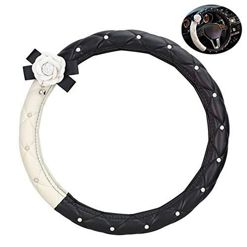 PU Leder Auto Lenkradabdeckung 38 cm / 15 Zoll Diamant Perle Kamelie Schwarz Und Weiß Mode Leder Lenker Set Für Frauen Mädchen,B