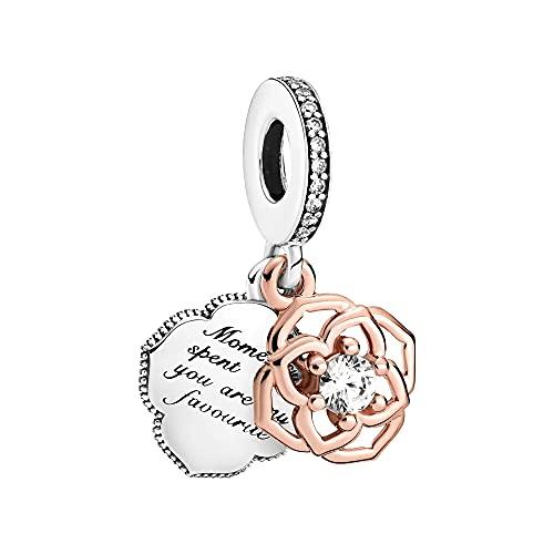 Pandora Breloque rose bicolore en argent sterling et alliage plaqué or rose 14 carats et zircone cubique de la collection Pandora Moments