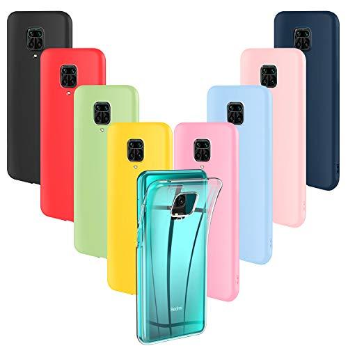 ivencase 9 × Funda Xiaomi Redmi Note 9S / Note 9 Pro/Note 9 Pro MAX/Xiaomi Poco M2 Pro Carcasa TPU Cover (Rosa, Verde, Púrpura, Rosa Claro, Amarillo, Rojo, Azul Oscuro, Translúcido, Negro)