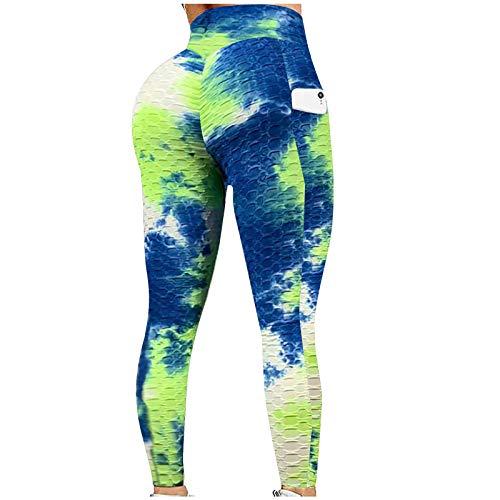 Damen Leggings mit hoher Taille, voll farbig bedruckt, nicht durchsichtig, Yogahose mit Taschen, für Fitnessstudio, Radfahren, Yoga, Laufen, tägliche Freizeit