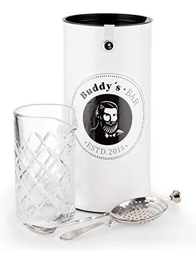 Buddy´s Barra - set de agitación, vaso agitador 500 ml, calidad pesada, cuchara de barra de 27 cm, colador, acero inoxidable pulido espejo, apto para lavavajillas, juego de barra con caja de regalo