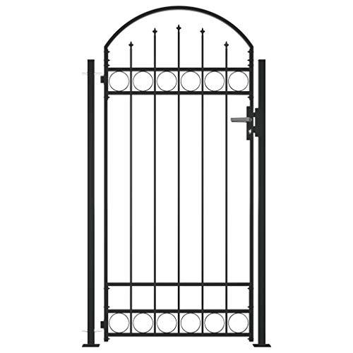 Tidyard Metall Zauntor Gartentor Metalltor Hoftor Einfahrtstor Gartenpforte Einzeltor, 2 Pfosten, Abschließbar, mit 3 Schlüsseln, 100x200 cm Schwarz