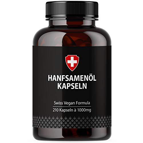 Hanföl in Softgel-Kapseln | Hochdosiert mit 1000mg pro Kapsel | Von Active Swiss | Kaltgepresst für 210 Tage / 7 Monate
