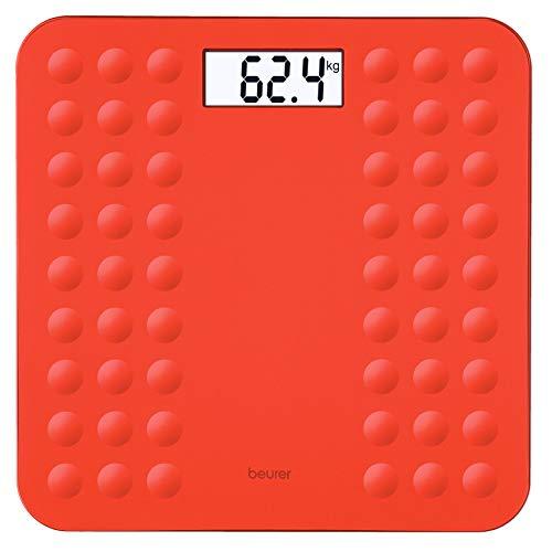 Beurer GS300 - Báscula de baño, vidrio con pantalla LCD, digitos grandes, capacidad 180 kg, apagado automático antideslizante, color coral (756.07)