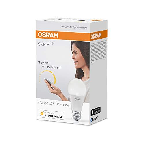 OSRAM SMART+ LED, Bluetooth Lampe mit E27 Sockel, dimmbar, ersetzt 60W Glühbirne, warmweiß , Kompatibel mit Apple Homekit und LEDVANCE Smart+ App für Android