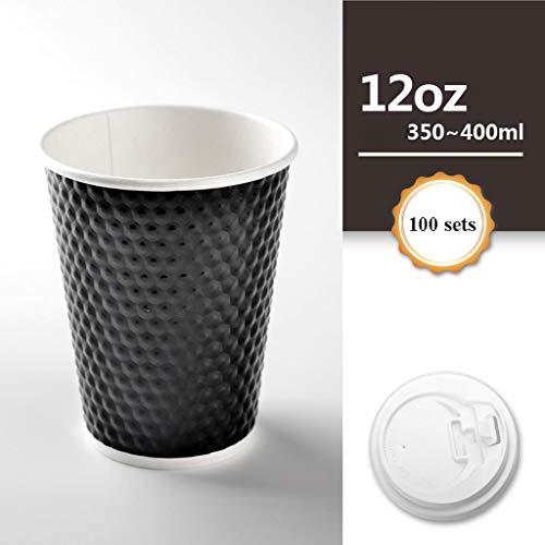 XZ15 Verwijderbare koffiekopjes met deksel, recyclebaar - levensmiddelenkwaliteit, koffie/thee, geschikt voor thuis en op kantoor, 100 per verpakking
