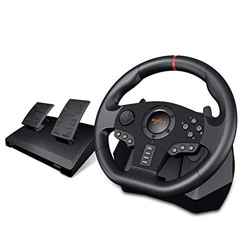 Ashey Volant de Jeu, contrôleur de Manette de Jeu à 900 ° Vibration de Jeu vidéo de Course, pour PC / PS3 / 4 / Xbox-One/Xbox 360 / N-Switc