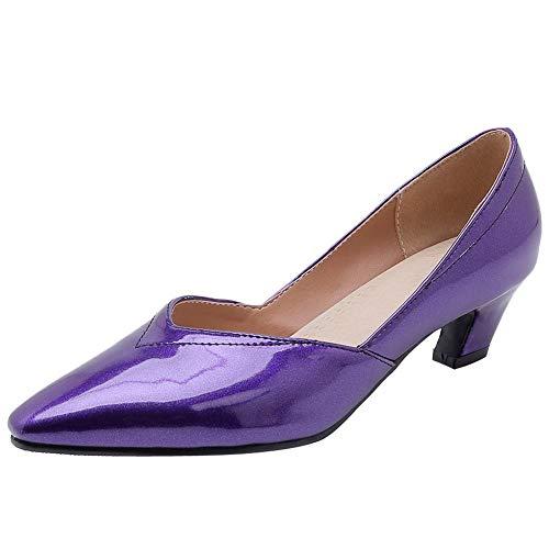 KISSYAYA Damen Pumps Pointed Toe Small Heel(47 EU,Lila)