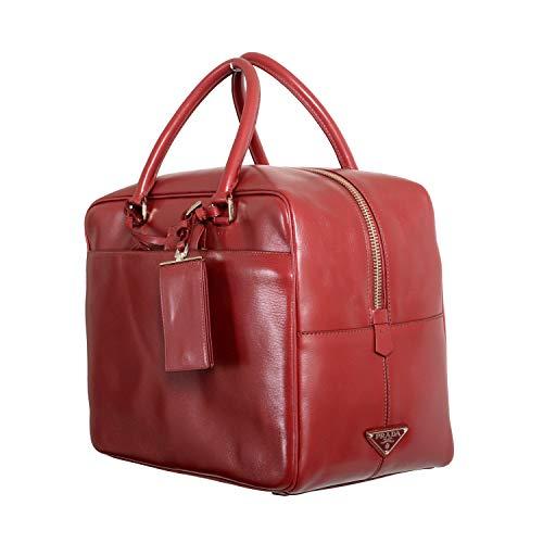 Prada Bolsa feminina de couro vermelho cereja para viagem