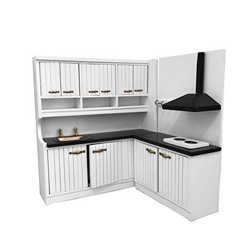 KeKeandYaoYao 1/12 Mini wastafel kast kast set model pop huis keuken accessoire