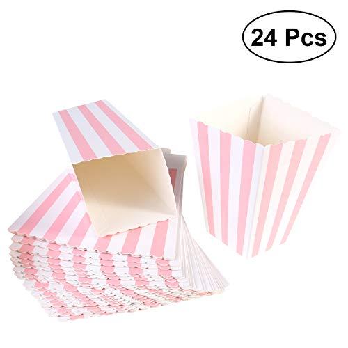 NUOLUX Popcorn-Boxen, Streifenmuster Dekoratives Geschirr für Party, 12 x 7CM, 24 Stück, Pink