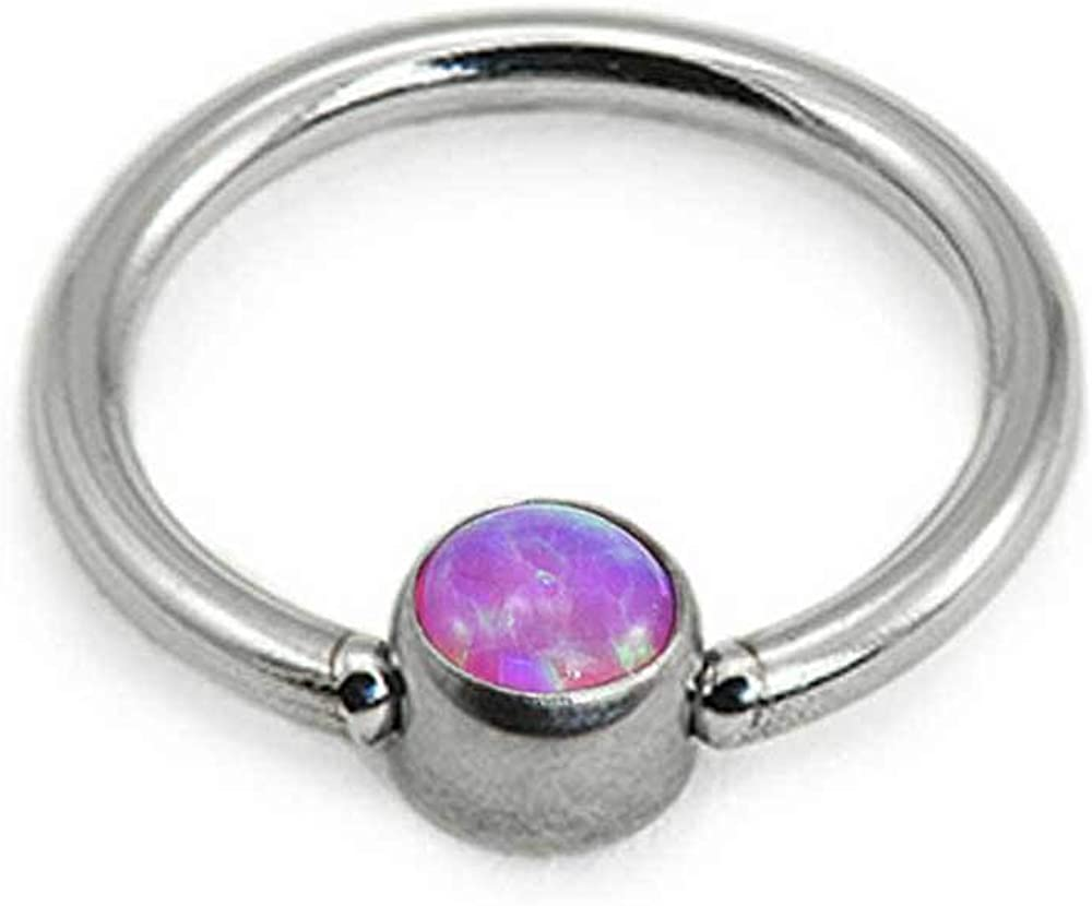 316L Surgical Steel Nose Ring CBR Captive Bead Hoop 2mm Faux Opal Choose Your Color & Size