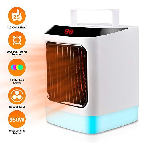 Dr.Haer Calefactor Eléctrico, Mini Portátil Calentador de Espcacio con Protección Antivuelco,(1000w/950w) Ventilador Calefactor de Cerámico Silencioso con 7 Led Colores Ajustable Luces