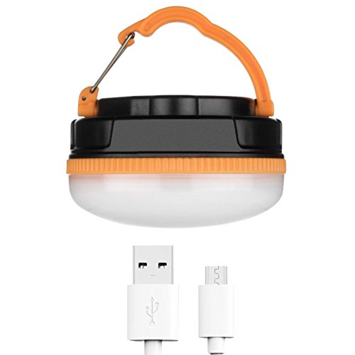 Camping Lantern Emergency Tent Light Lamp, 180 LM Dimmable LED Rechargeable Tent Handle Lamp USB Charing with Hook and Magnetic Backpacking for Camping, Hiking, Emergency, Blackout, Car Repair-Orange