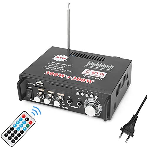Abarich Amplificatore di Potenza Audio Stereo da 2 Pollici 12V / 220V Mini Display LCD da 2CH Amplificatore di Potenza Stereo da 600 Pollici per Autoradio Portatile BT Home Automobile
