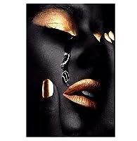 アフリカ系アメリカ人の女性のキャンバスプリント壁アートセクシーな黒人女性の顔にシャンパンメイクで出血ポートレート写真アート画像ポスター現代の装飾、額縁なし,Eye blood,50*75cm