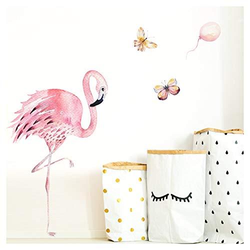Little Deco Wandtattoo Kinderzimmer Flamingo & Schmetterlinge I S - 64 x 74 cm (BxH) I Mädchen Wanddeko Babyzimmer Wandaufkleber Aufkleber Sticker Wandsticker DL155