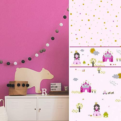#patterned.wallpaper PVC-Freie Kinderzimmer Tapete 3D Vliestapete + passende Bordüre Prinzessin Baby Pink Spielzimmer Schloss