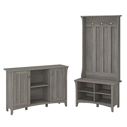 Bush Furniture Salinas Entryway Storage Set with Hall Tree, Shoe Bench and Accent Cabinet in Driftwood Gray