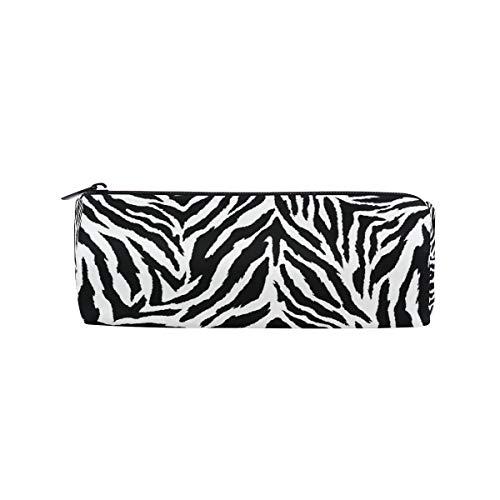 VIKKO Animal Zebra Print Black White Skin Pencil Case Students Stationery Storage Bag Pen Organizer Zipper Pouch for Girls Teens Kids