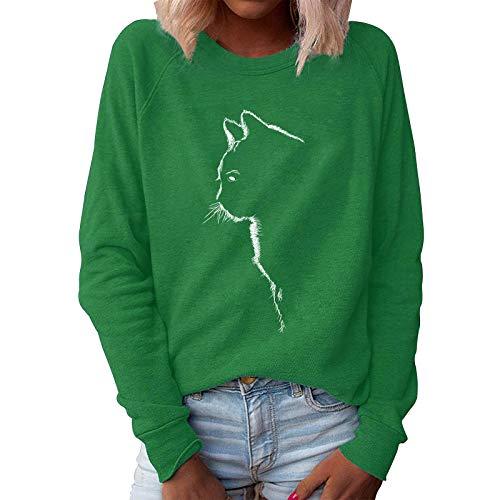 Xmiral Sweatshirt Damen Katze Gedruckt Einfarbig Pullover Slim Fit Langarm O-Ausschnitt T-Shirt Bluse(Grün,4XL)