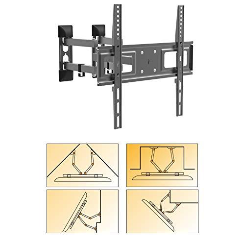 Multifunktional schwenkbar neigbar TV Wandhalterung - Eckmontage Wandversatzmontage Nischenmontage - VESA bis max. 400x400 für 26-55 Zoll ausziehbar auf max. 47cm Halter