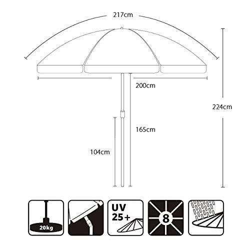 Sekey® Sonnenschirm 200 cm Marktschirm Gartenschirm Terrassenschirm Taupe Rund Sonnenschutz UV25+ - 7