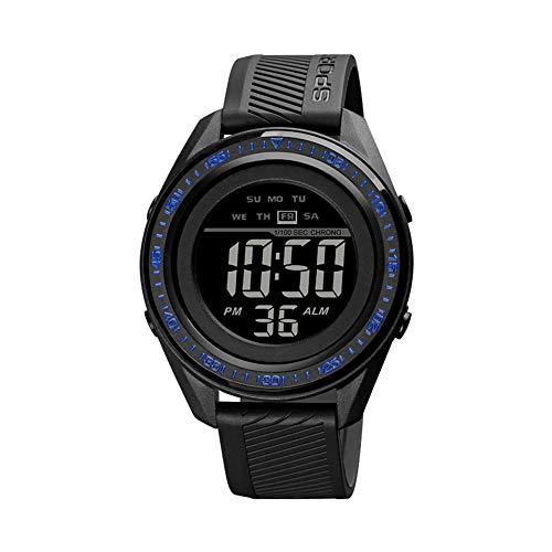 Reloj deportivo digital para hombre, resistente al agua, pantalla LED, relojes grandes y resistente reloj electrónico simple con alarma, cronómetro, luz nocturna luminosa, Azul-Negro