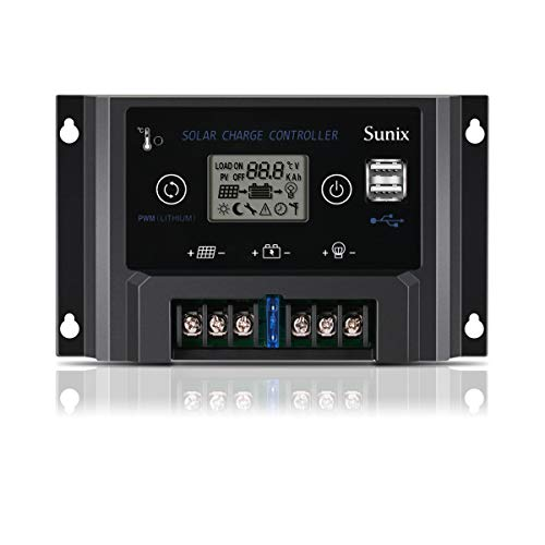Sunix 20A 12V Solar Laderegler für Lithiumbatterie, erweiterter Solarpanel Laderegler mit Sicherung, Dual 5V 2A USB Port, Überlastschutz Temperaturkompensation