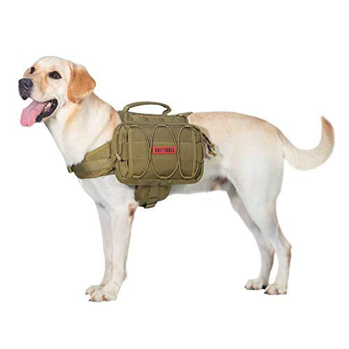 OneTigris Mochila para perros Mammoth, versión 2.0, para camping, senderismo, para perros de tamaño M/L, embalaje reutilizable (L, Coyote marrón)