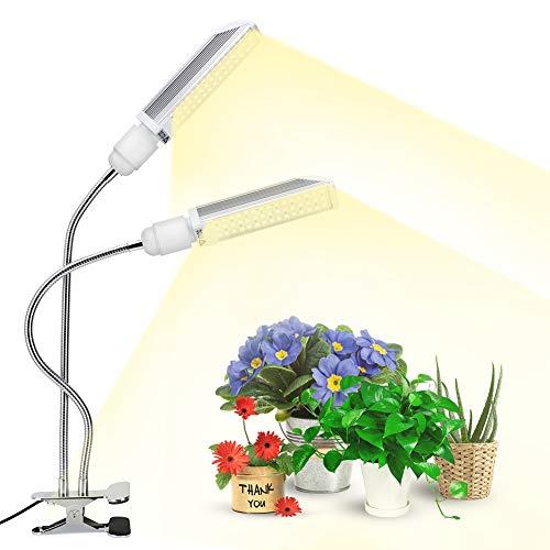 eecoo 120W LED Cultivo Interior, Lámpara de Plantas 90LED con Atenuación Nivel 10, Espectro Completo, 5400lm, Bombilla Reemplazable E27 Grow Light para Siembra Crecimiento Floración y Fructificación
